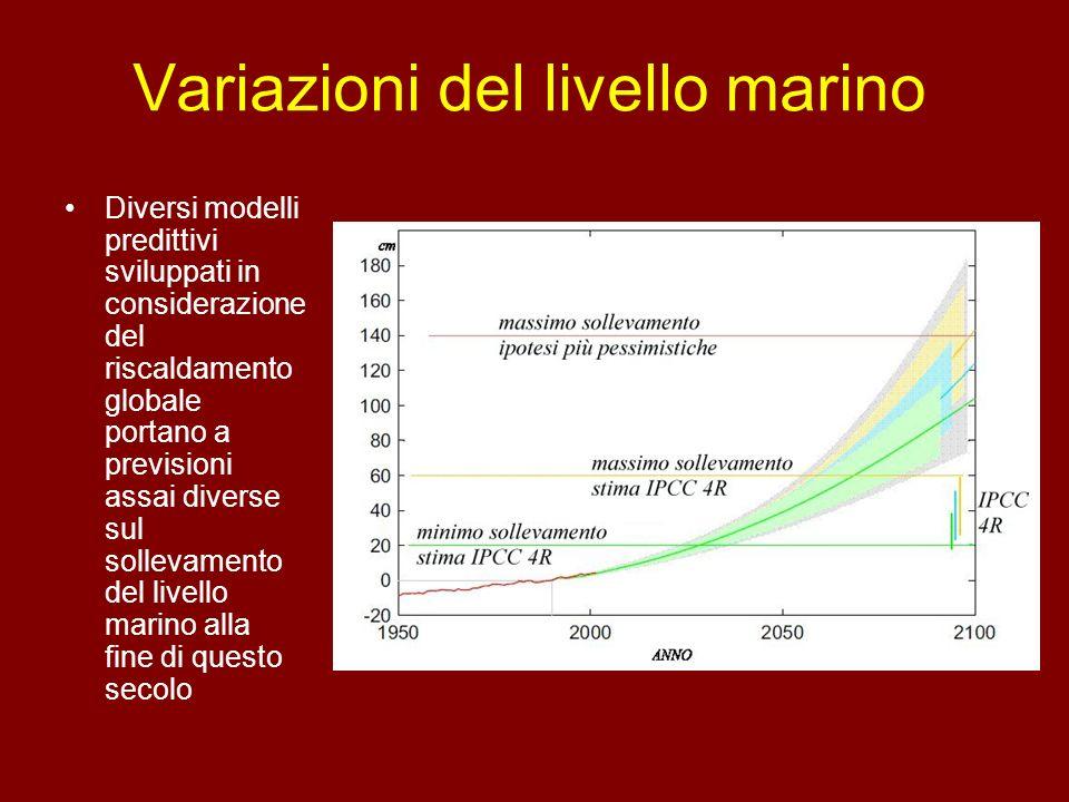 Variazioni del livello marino Diversi modelli predittivi sviluppati in considerazione del riscaldamento globale portano a previsioni assai diverse sul