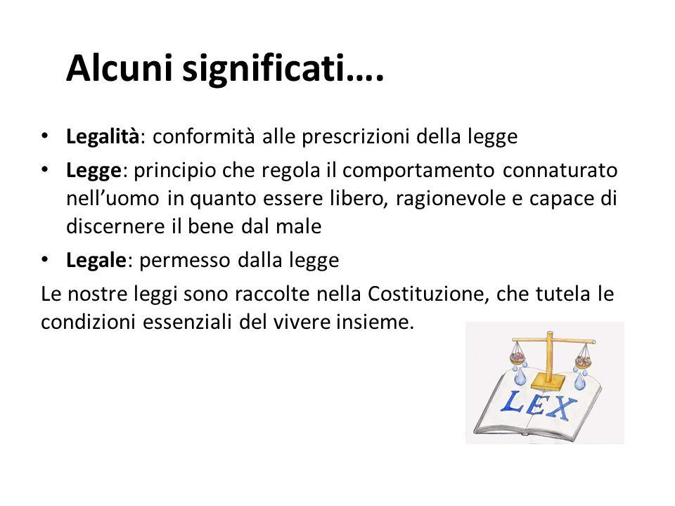 Alcuni significati…. Legalità: conformità alle prescrizioni della legge Legge: principio che regola il comportamento connaturato nelluomo in quanto es