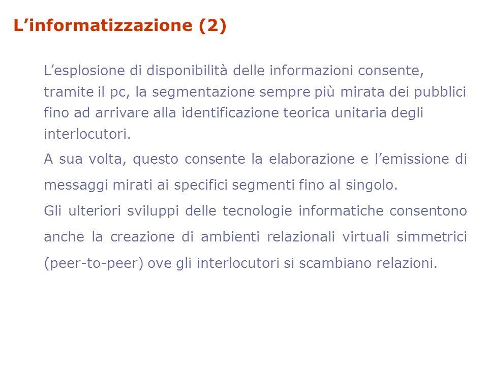 Linformatizzazione (2) Lesplosione di disponibilità delle informazioni consente, tramite il pc, la segmentazione sempre più mirata dei pubblici fino a