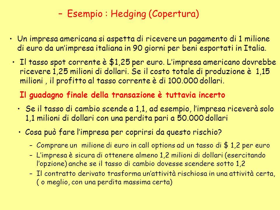 Un impresa americana si aspetta di ricevere un pagamento di 1 milione di euro da unimpresa italiana in 90 giorni per beni esportati in Italia. Il tass