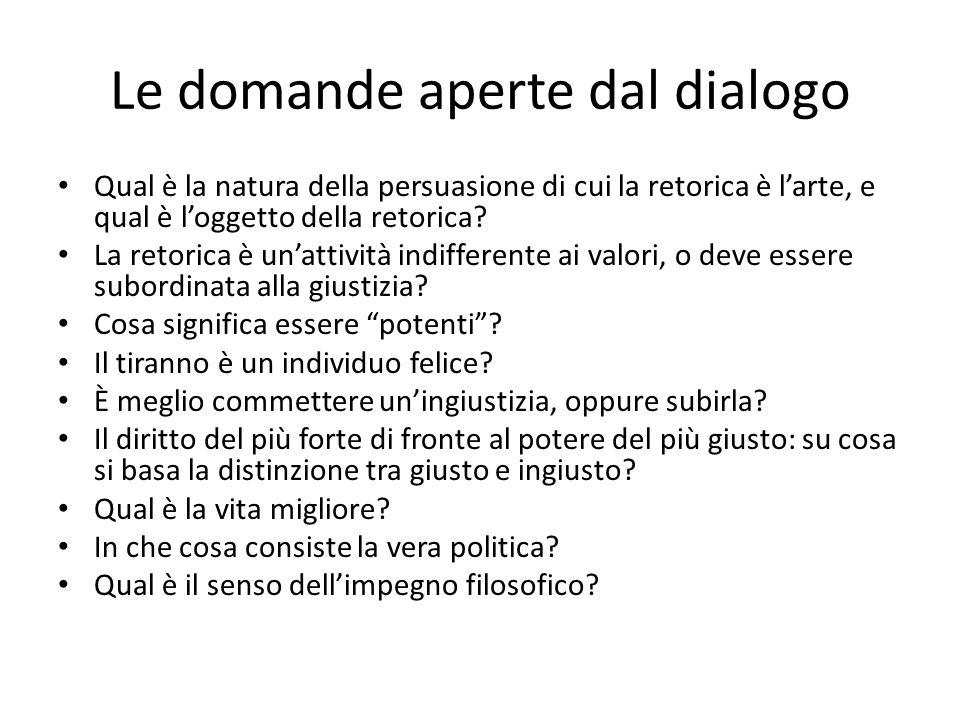 Le domande aperte dal dialogo Qual è la natura della persuasione di cui la retorica è larte, e qual è loggetto della retorica? La retorica è unattivit