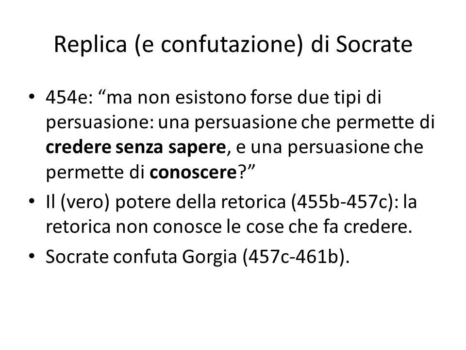 Replica (e confutazione) di Socrate 454e: ma non esistono forse due tipi di persuasione: una persuasione che permette di credere senza sapere, e una p
