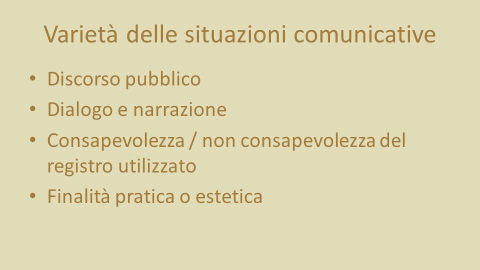 Varietà delle situazioni comunicative Discorso pubblico Dialogo e narrazione Consapevolezza / non consapevolezza del registro utilizzato Finalità pratica o estetica