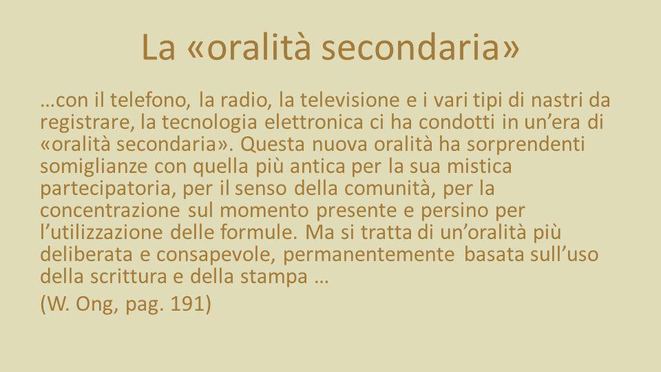 La «oralità secondaria» …con il telefono, la radio, la televisione e i vari tipi di nastri da registrare, la tecnologia elettronica ci ha condotti in unera di «oralità secondaria».