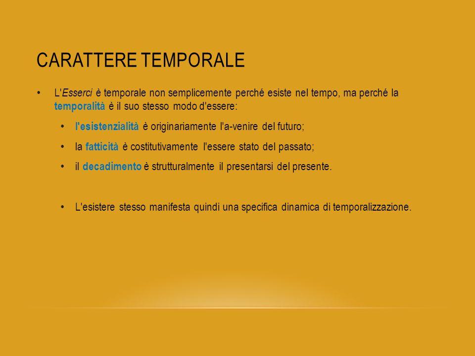 CARATTERE TEMPORALE L' Esserci è temporale non semplicemente perché esiste nel tempo, ma perché la temporalità è il suo stesso modo d'essere: l'esiste