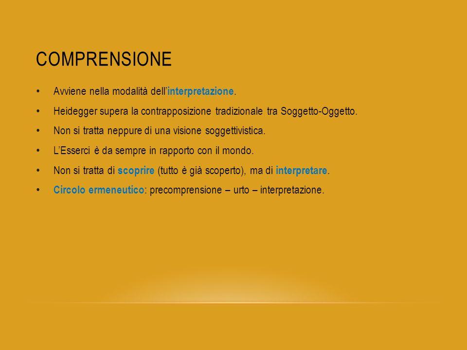 PRIMO GRUPPO DI ESISTENZIALI Comprensione – interpretazione – discorso ( Rede ).