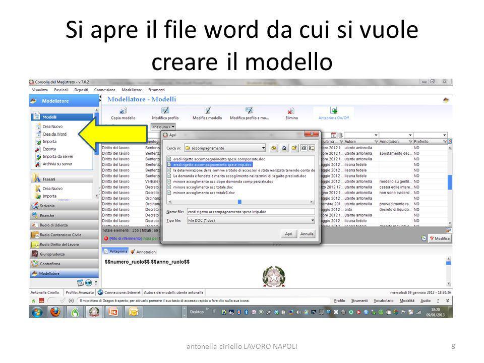 Si apre il file word da cui si vuole creare il modello 8antonella ciriello LAVORO NAPOLI