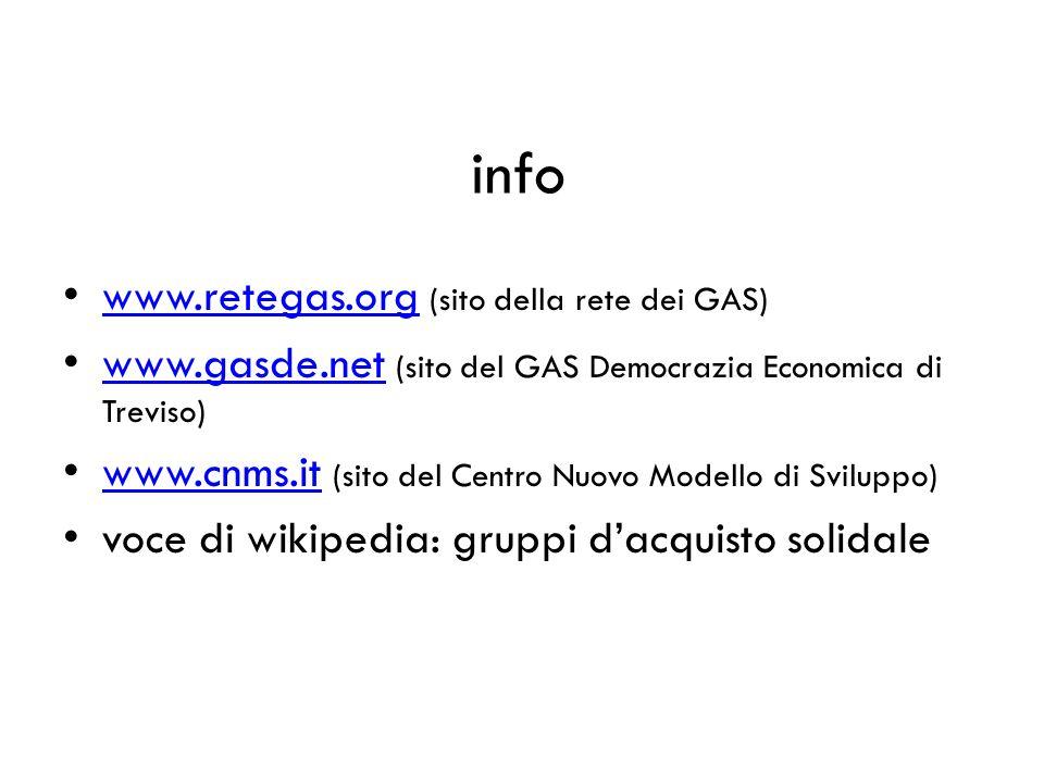info www.retegas.org (sito della rete dei GAS) www.retegas.org www.gasde.net (sito del GAS Democrazia Economica di Treviso) www.gasde.net www.cnms.it (sito del Centro Nuovo Modello di Sviluppo) www.cnms.it voce di wikipedia: gruppi dacquisto solidale