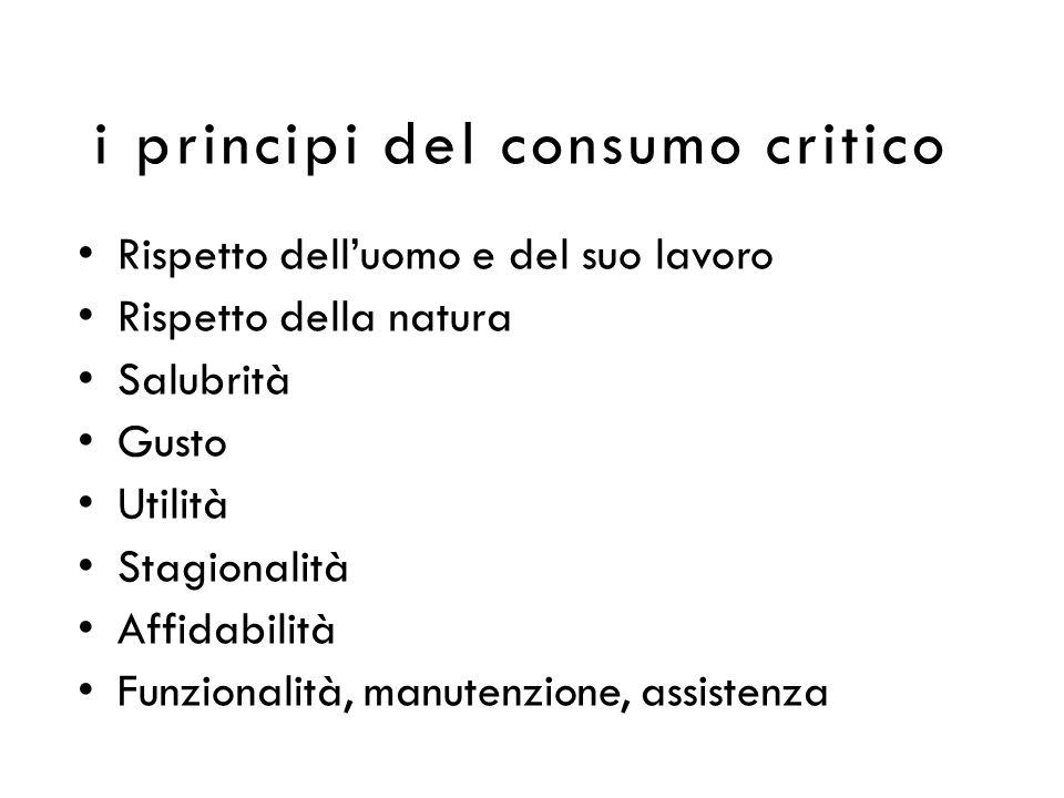 i principi del consumo critico Rispetto delluomo e del suo lavoro Rispetto della natura Salubrità Gusto Utilità Stagionalità Affidabilità Funzionalità, manutenzione, assistenza