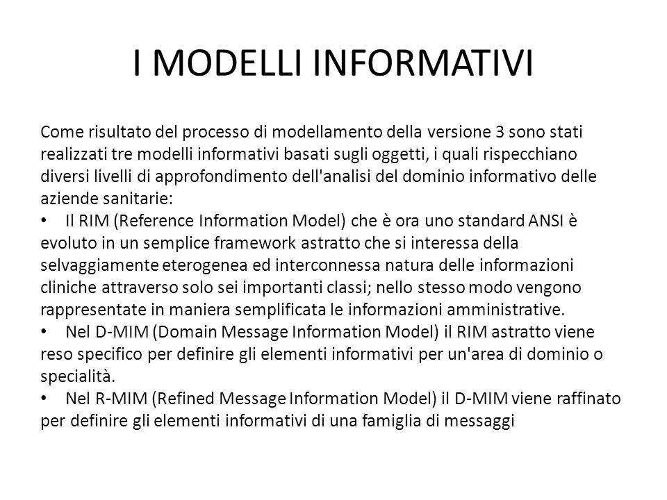 I MODELLI INFORMATIVI Come risultato del processo di modellamento della versione 3 sono stati realizzati tre modelli informativi basati sugli oggetti,