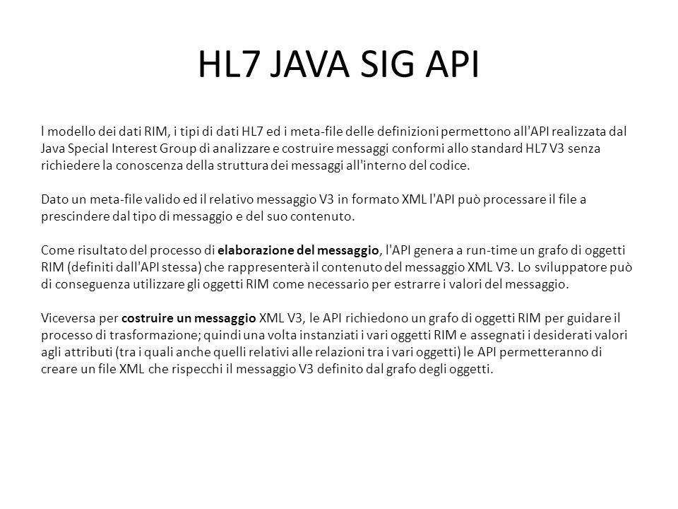 HL7 JAVA SIG API l modello dei dati RIM, i tipi di dati HL7 ed i meta-file delle definizioni permettono all'API realizzata dal Java Special Interest G