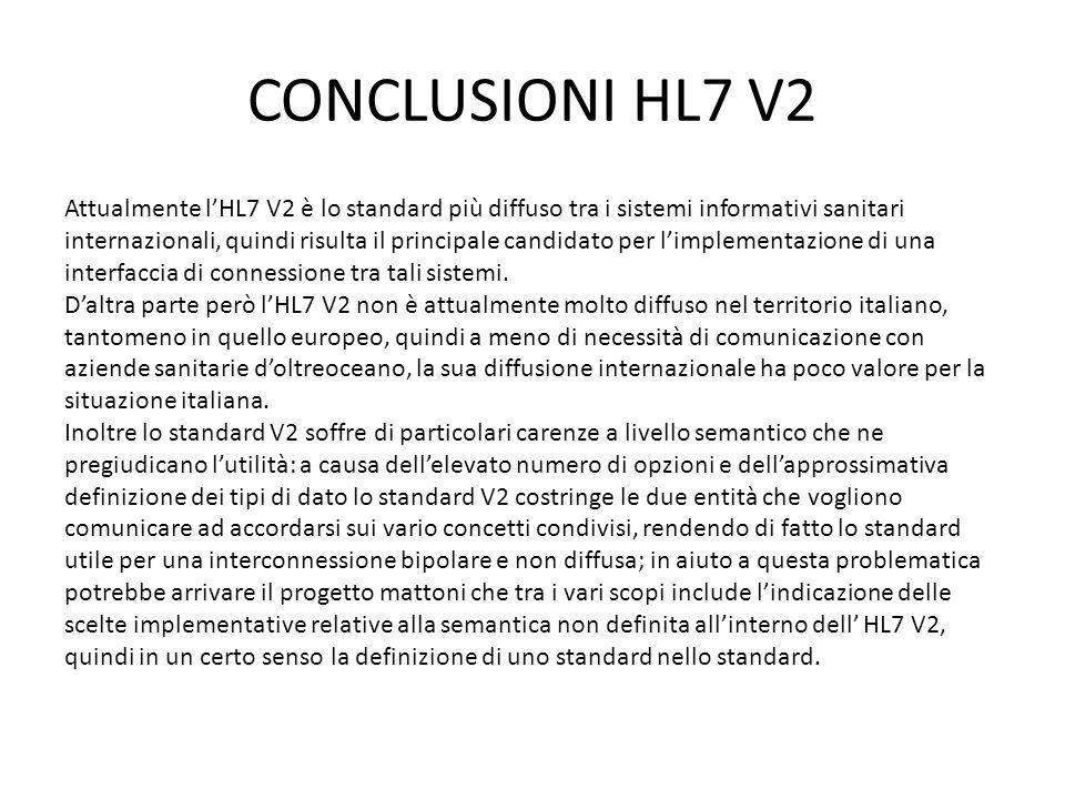 CONCLUSIONI HL7 V2 Attualmente lHL7 V2 è lo standard più diffuso tra i sistemi informativi sanitari internazionali, quindi risulta il principale candi