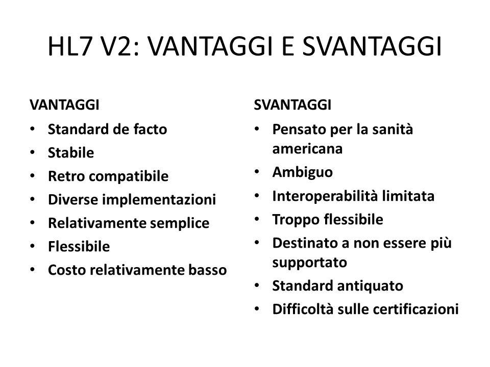 HL7 V2: VANTAGGI E SVANTAGGI VANTAGGI Standard de facto Stabile Retro compatibile Diverse implementazioni Relativamente semplice Flessibile Costo rela