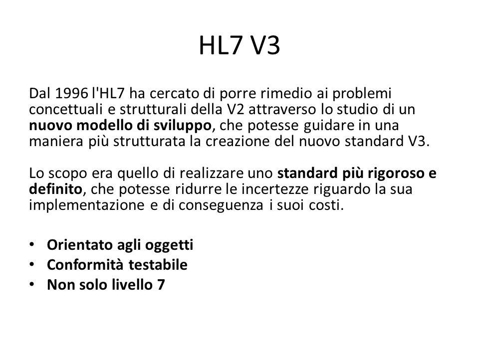 HL7 V3 Dal 1996 l'HL7 ha cercato di porre rimedio ai problemi concettuali e strutturali della V2 attraverso lo studio di un nuovo modello di sviluppo,