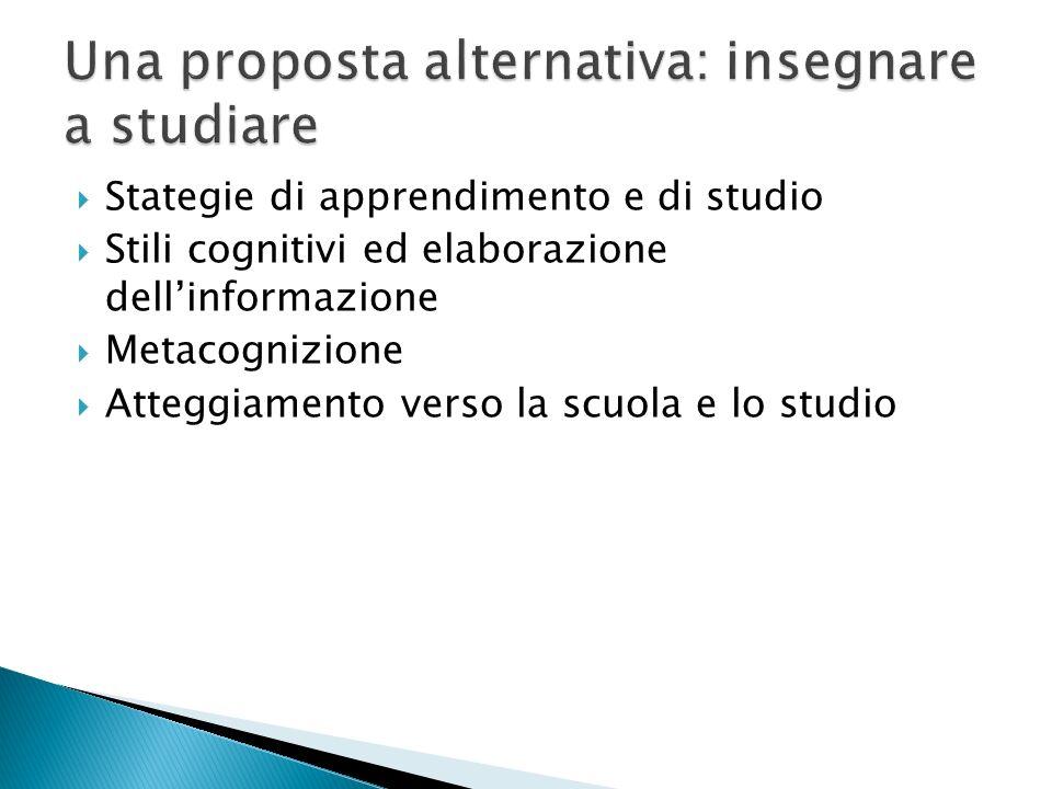 Stategie di apprendimento e di studio Stili cognitivi ed elaborazione dellinformazione Metacognizione Atteggiamento verso la scuola e lo studio