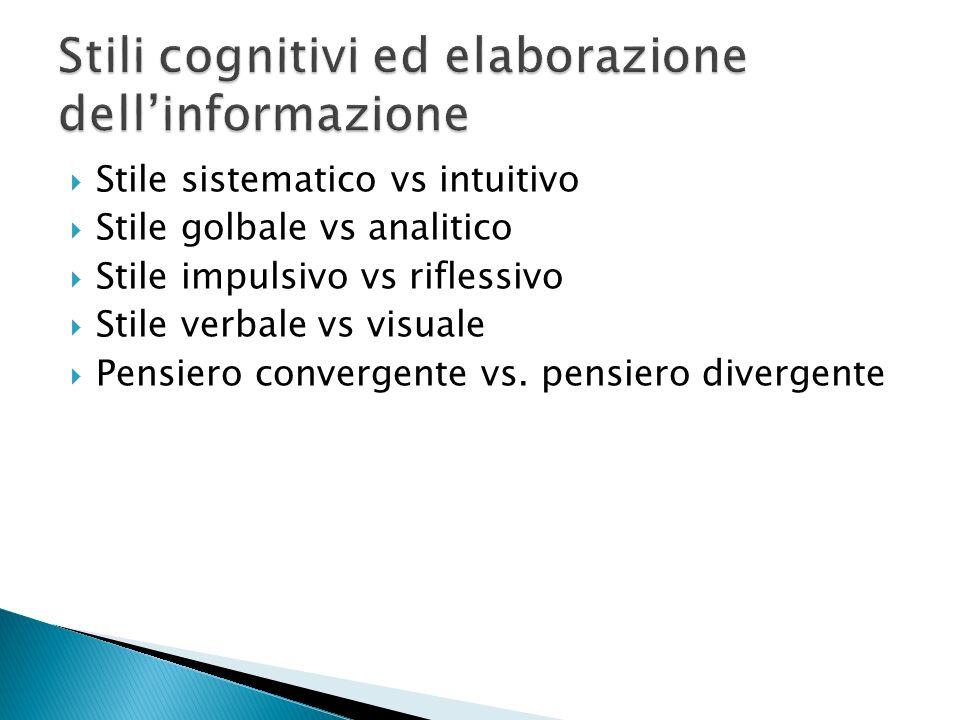 Stile sistematico vs intuitivo Stile golbale vs analitico Stile impulsivo vs riflessivo Stile verbale vs visuale Pensiero convergente vs. pensiero div