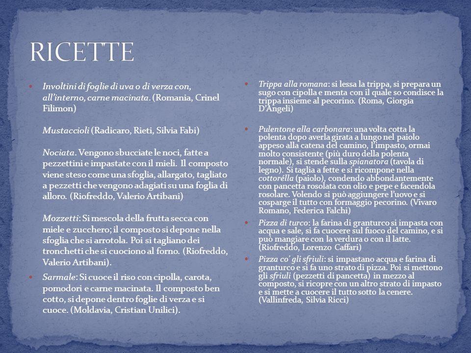 Involtini di foglie di uva o di verza con, allinterno, carne macinata. (Romania, Crinel Filimon) Mustaccioli (Radicaro, Rieti, Silvia Fabi) Nociata. V