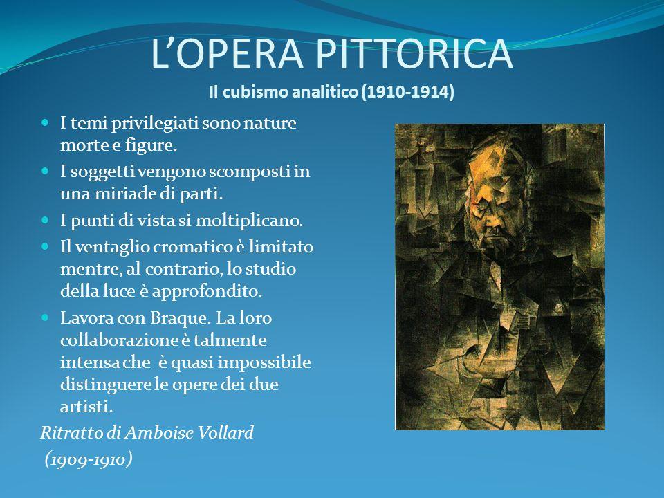 LOPERA PITTORICA Il cubismo analitico (1910-1914) I temi privilegiati sono nature morte e figure. I soggetti vengono scomposti in una miriade di parti