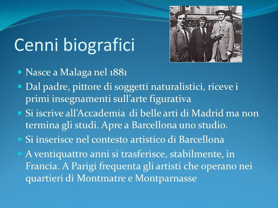 Cenni biografici 1937 la Guerra Civile Spagnola ispira il suo quadro più famoso, Guernica 1946 si trasferisce nel sud della Francia e si dedica alla ceramica.