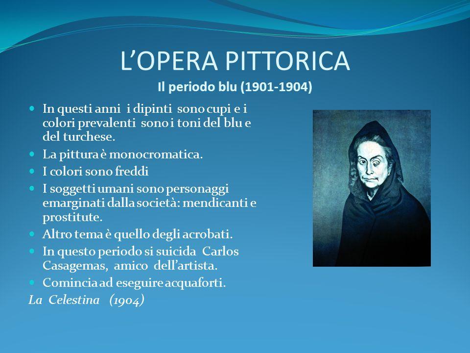LOPERA PITTORICA Il periodo blu (1901-1904) In questi anni i dipinti sono cupi e i colori prevalenti sono i toni del blu e del turchese. La pittura è