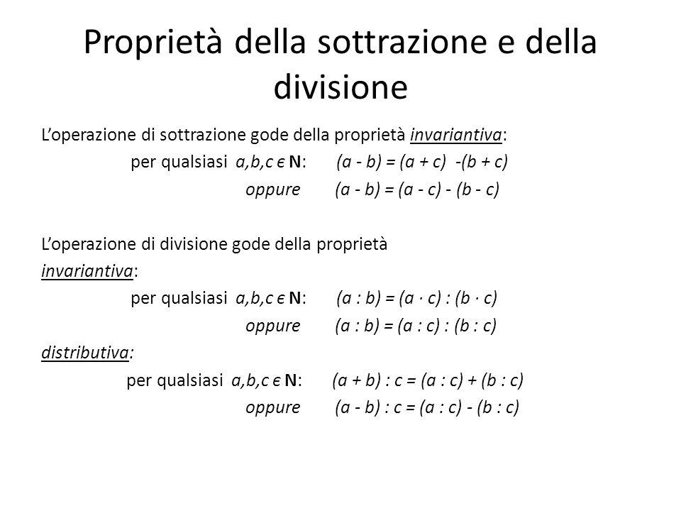 Proprietà della sottrazione e della divisione Loperazione di sottrazione gode della proprietà invariantiva: per qualsiasi a,b,c є N: (a - b) = (a + c) -(b + c) oppure (a - b) = (a - c) - (b - c) Loperazione di divisione gode della proprietà invariantiva: per qualsiasi a,b,c є N: (a : b) = (a · c) : (b · c) oppure (a : b) = (a : c) : (b : c) distributiva: per qualsiasi a,b,c є N: (a + b) : c = (a : c) + (b : c) oppure (a - b) : c = (a : c) - (b : c)