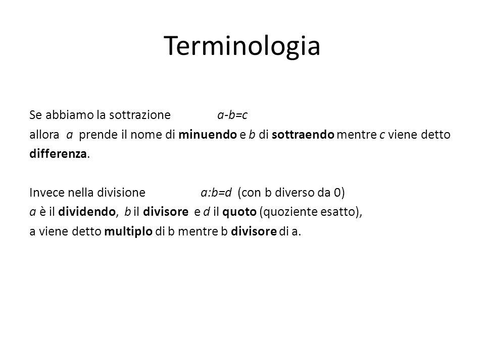 Terminologia Se abbiamo la sottrazione a-b=c allora a prende il nome di minuendo e b di sottraendo mentre c viene detto differenza.
