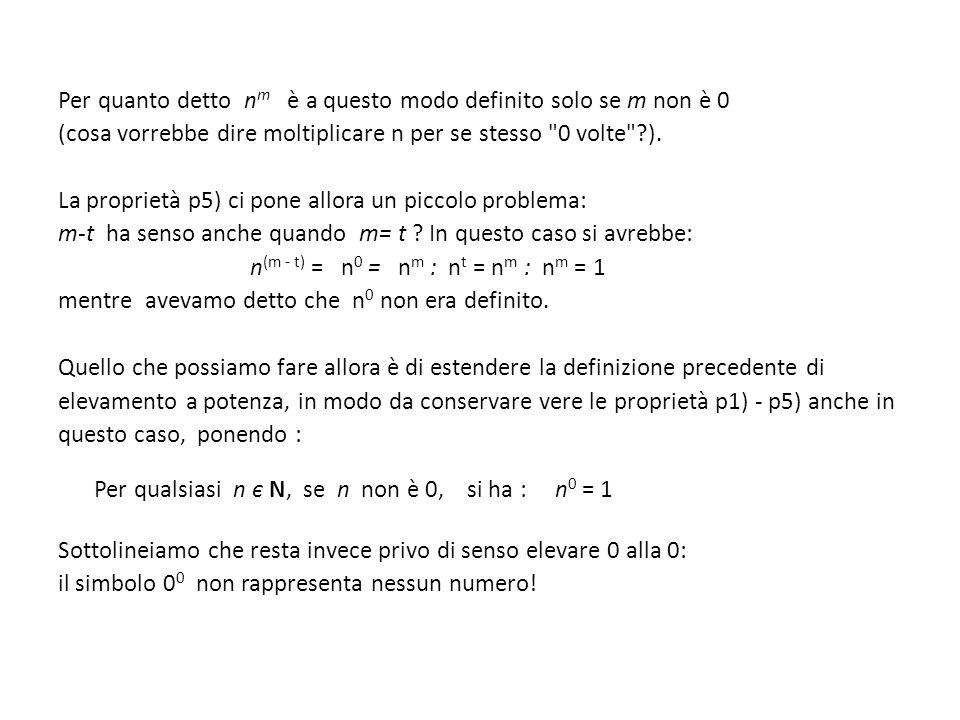 Per quanto detto n m è a questo modo definito solo se m non è 0 (cosa vorrebbe dire moltiplicare n per se stesso 0 volte ?).