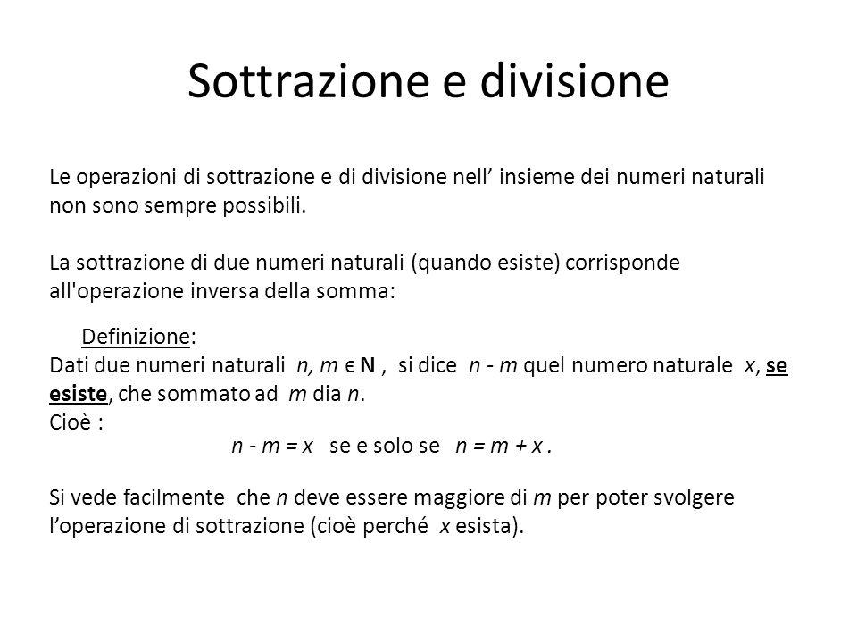 In modo analogo alla sottrazione si definisce la divisione: Definizione: Dati due numeri naturali n, m є N, si dice n : m quel numero naturale x, se esiste ed è unico, che moltiplicato per m dia n.