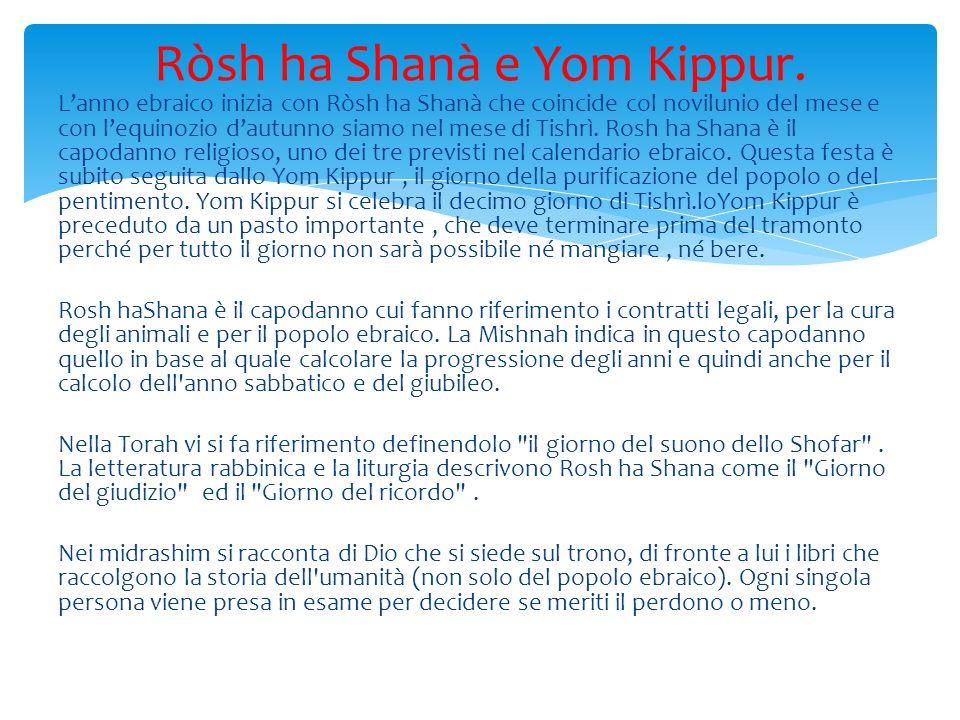 Lanno ebraico inizia con Ròsh ha Shanà che coincide col novilunio del mese e con lequinozio dautunno siamo nel mese di Tishrì.
