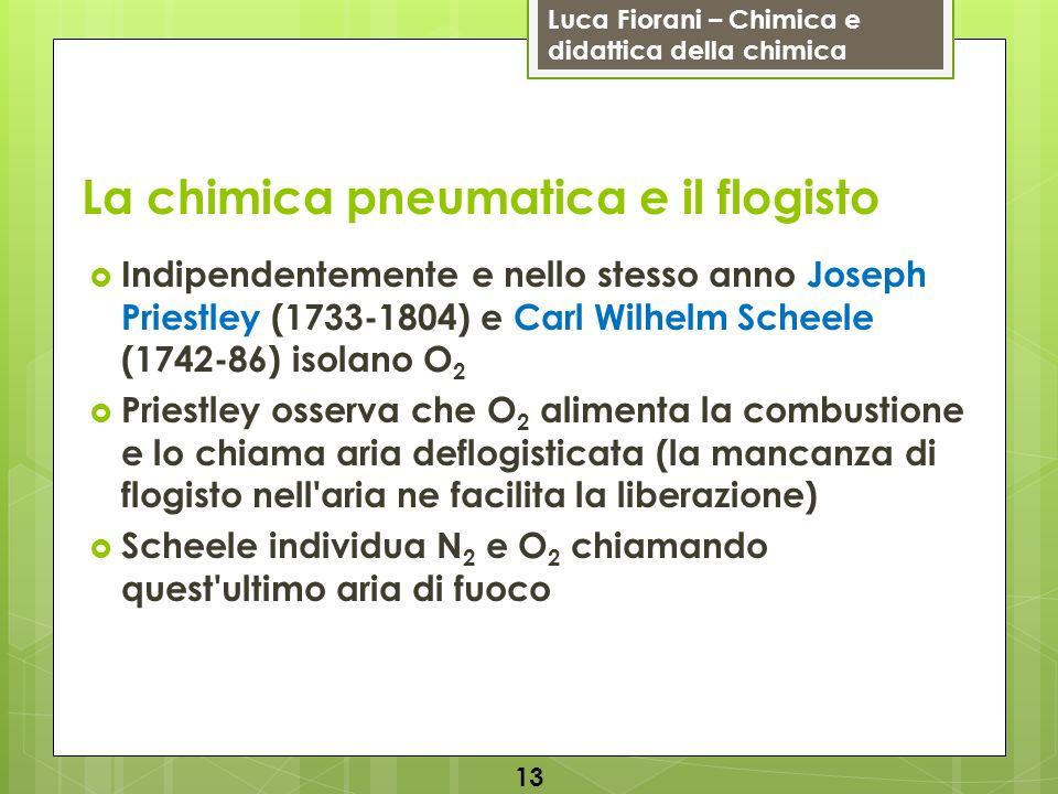 Luca Fiorani – Chimica e didattica della chimica La bilancia di Lavoisier Antoine Lavoisier (1743-1794) è il padre della chimica moderna: introduce l uso sistematico dell analisi quantitativa (bilancia) che sfocerà nella legge di conservazione della massa, enunciata nel suo Trattato elementare di chimica (1789) riconosce i gas presenti nell aria (e conia i nomi azoto , ossigeno e idrogeno ) fonda la nomenclatura chimica 14