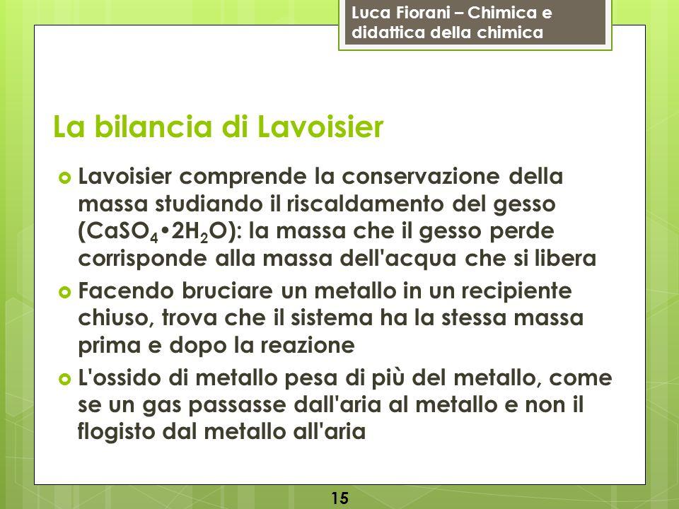 Luca Fiorani – Chimica e didattica della chimica La bilancia di Lavoisier Lavoisier comprende la conservazione della massa studiando il riscaldamento
