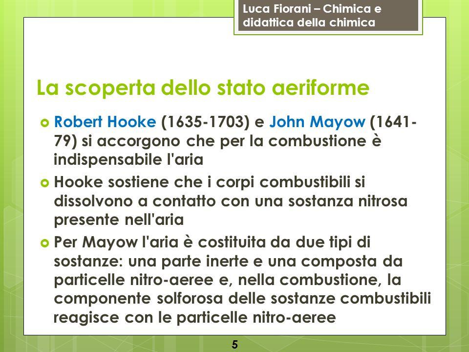 Luca Fiorani – Chimica e didattica della chimica La scoperta dello stato aeriforme Robert Hooke (1635-1703) e John Mayow (1641- 79) si accorgono che p