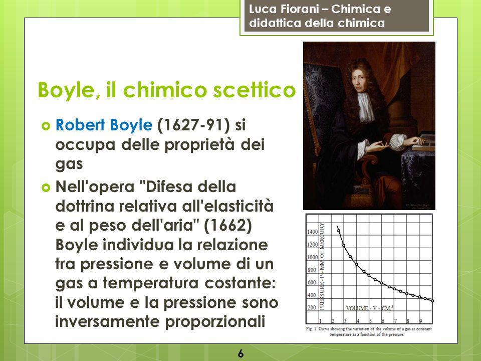 Luca Fiorani – Chimica e didattica della chimica Boyle, il chimico scettico Boyle lavora con un tubo a U contenente mercurio che esercita una determinata pressione sull aria: variando la pressione varia anche il volume secondo la legge: P × V = k detta legge di Boyle 7