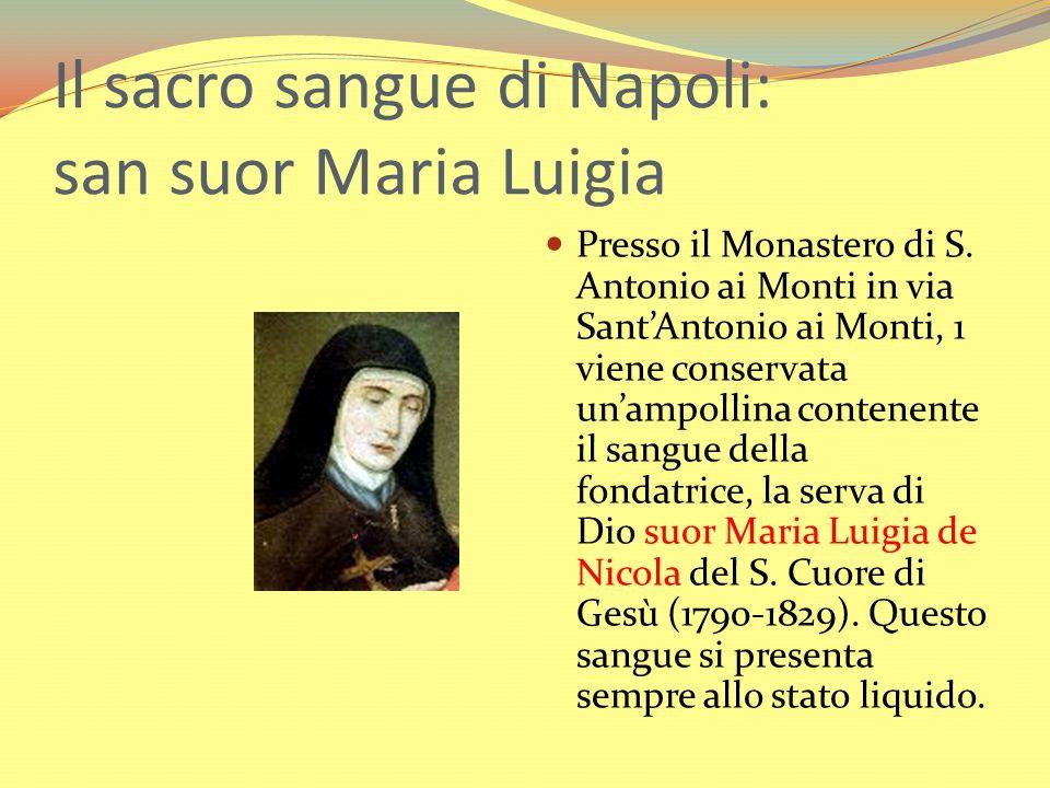 Il sacro sangue di Napoli: san suor Maria Luigia Presso il Monastero di S. Antonio ai Monti in via SantAntonio ai Monti, 1 viene conservata unampollin