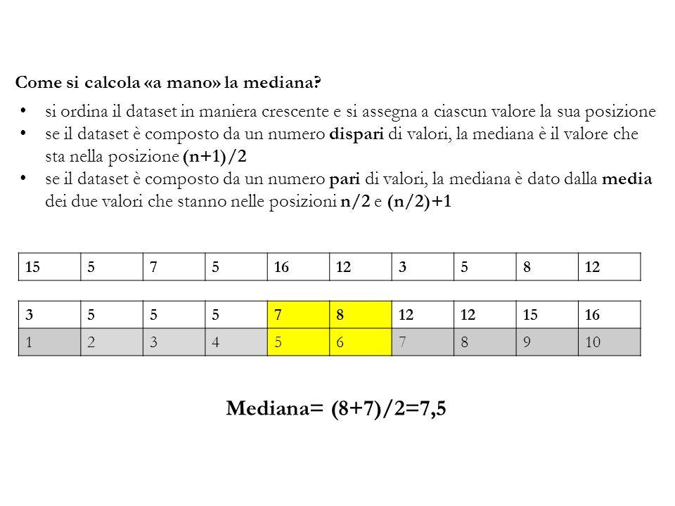 Come si calcola «a mano» la mediana? si ordina il dataset in maniera crescente e si assegna a ciascun valore la sua posizione se il dataset è composto