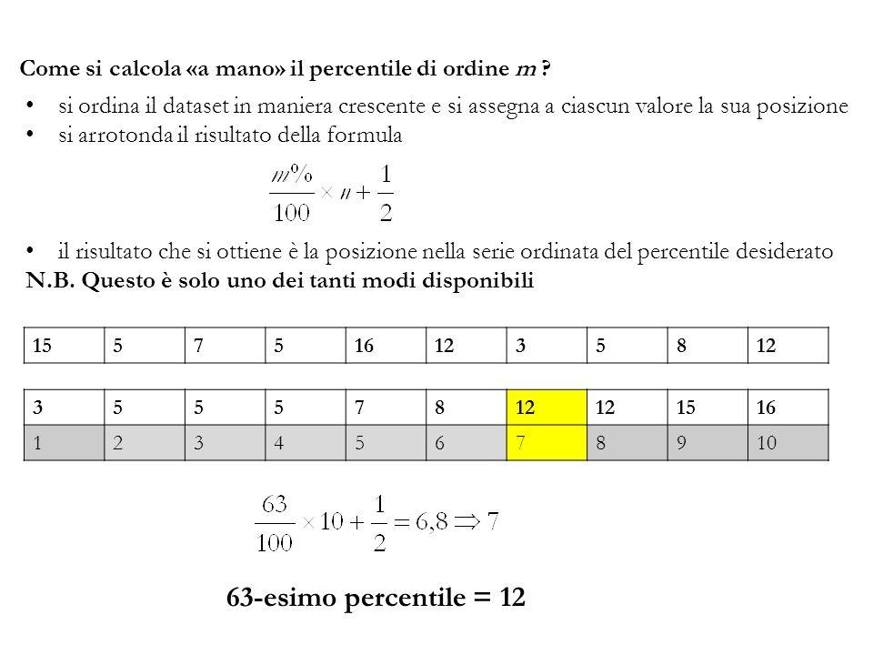 Come si calcola «a mano» il percentile di ordine m ? si ordina il dataset in maniera crescente e si assegna a ciascun valore la sua posizione si arrot