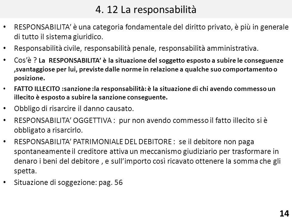4. 12 La responsabilità RESPONSABILITA è una categoria fondamentale del diritto privato, è più in generale di tutto il sistema giuridico. Responsabili