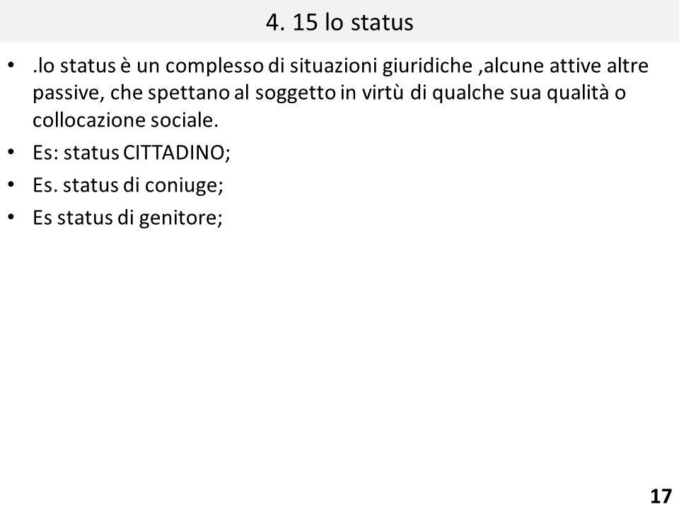 4. 15 lo status.lo status è un complesso di situazioni giuridiche,alcune attive altre passive, che spettano al soggetto in virtù di qualche sua qualit