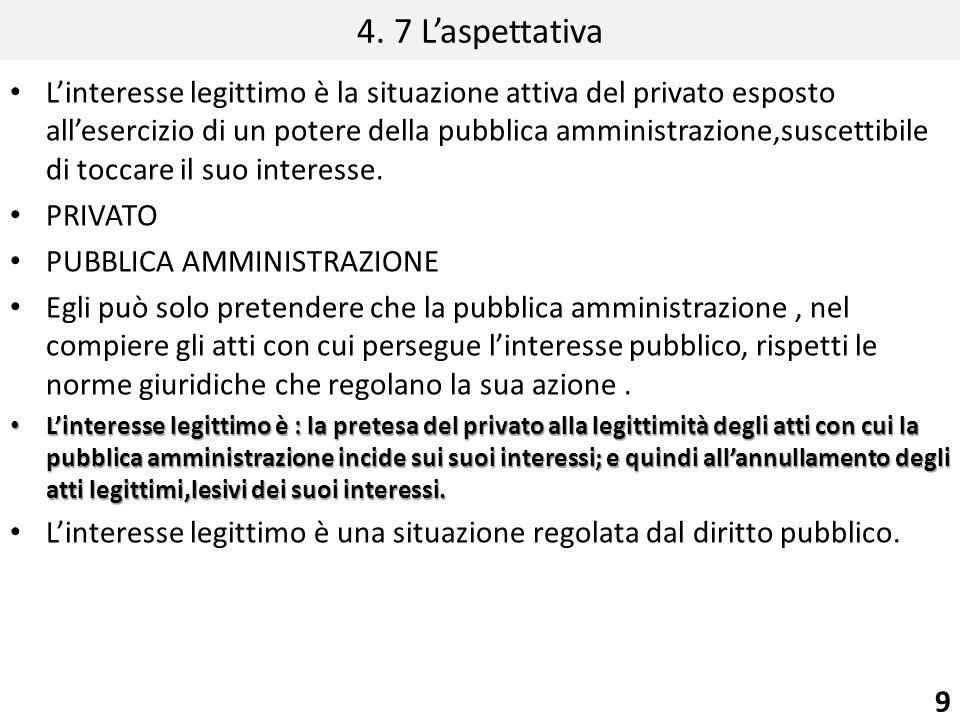 4. 7 Laspettativa Linteresse legittimo è la situazione attiva del privato esposto allesercizio di un potere della pubblica amministrazione,suscettibil