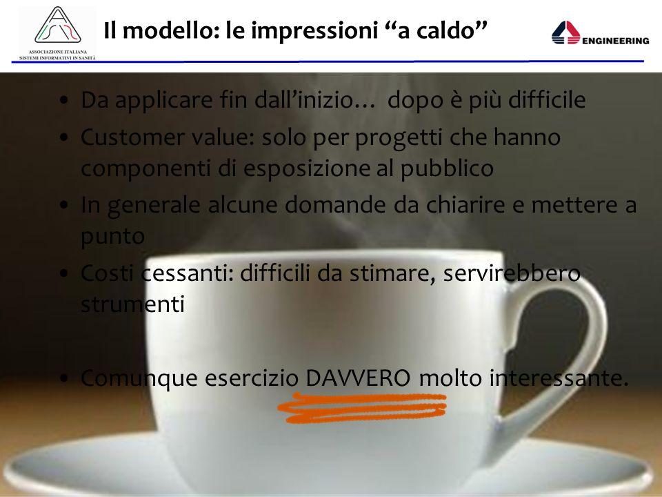 Aisis - 2013 Il modello: le impressioni a caldo Da applicare fin dallinizio… dopo è più difficile Customer value: solo per progetti che hanno componen