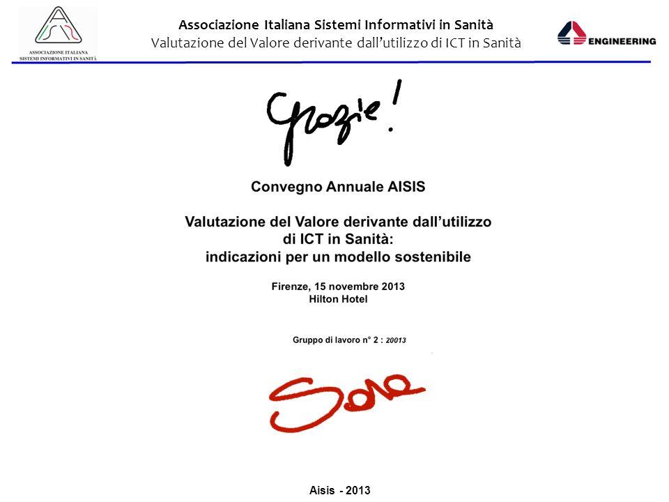 Aisis - 2013 Associazione Italiana Sistemi Informativi in Sanità Valutazione del Valore derivante dallutilizzo di ICT in Sanità