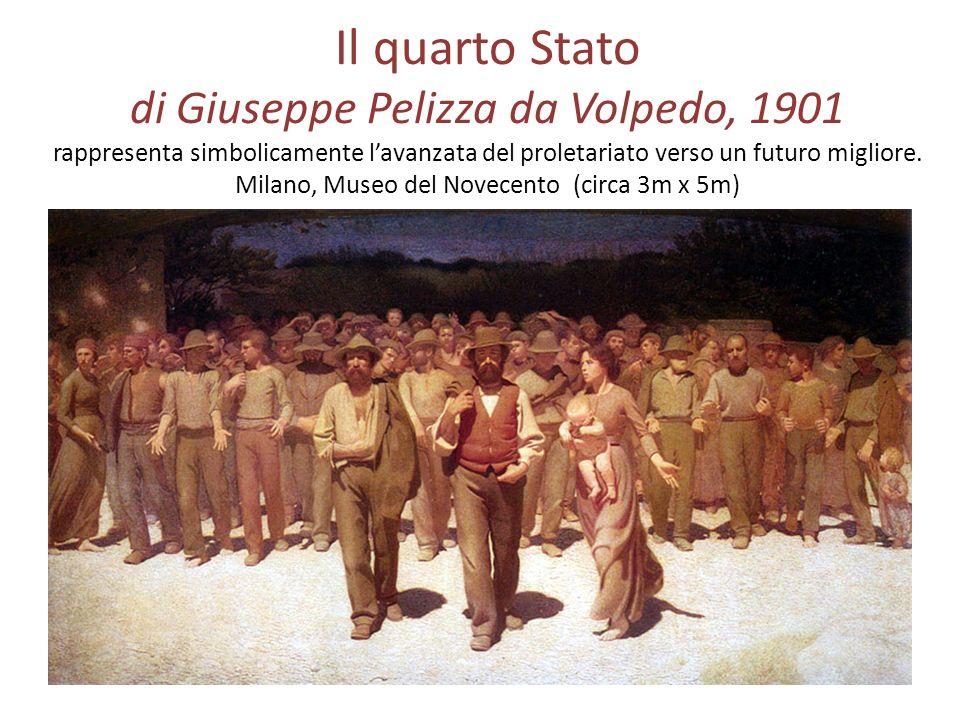 Il quarto Stato di Giuseppe Pelizza da Volpedo, 1901 rappresenta simbolicamente lavanzata del proletariato verso un futuro migliore. Milano, Museo del