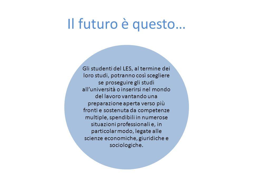 Il futuro è questo… Gli studenti del LES, al termine dei loro studi, potranno così scegliere se proseguire gli studi alluniversità o inserirsi nel mon