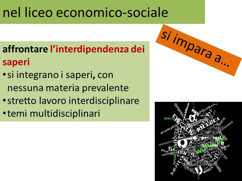 nel liceo economico-sociale si impara a… affrontare linterdipendenza dei saperi si integrano i saperi, con nessuna materia prevalente stretto lavoro i