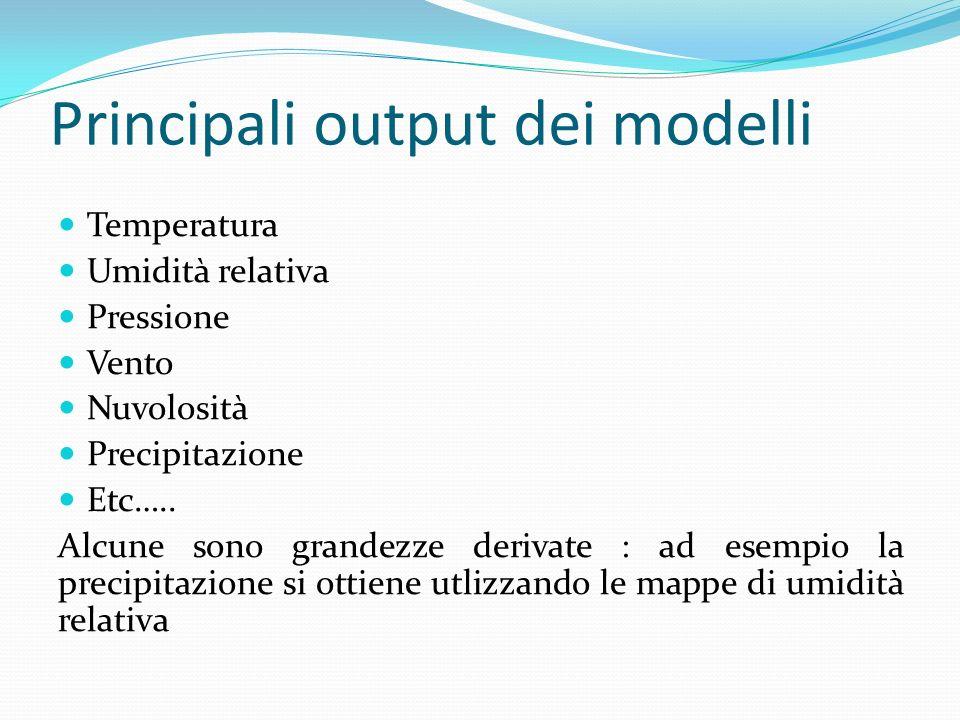 Principali output dei modelli Temperatura Umidità relativa Pressione Vento Nuvolosità Precipitazione Etc…..