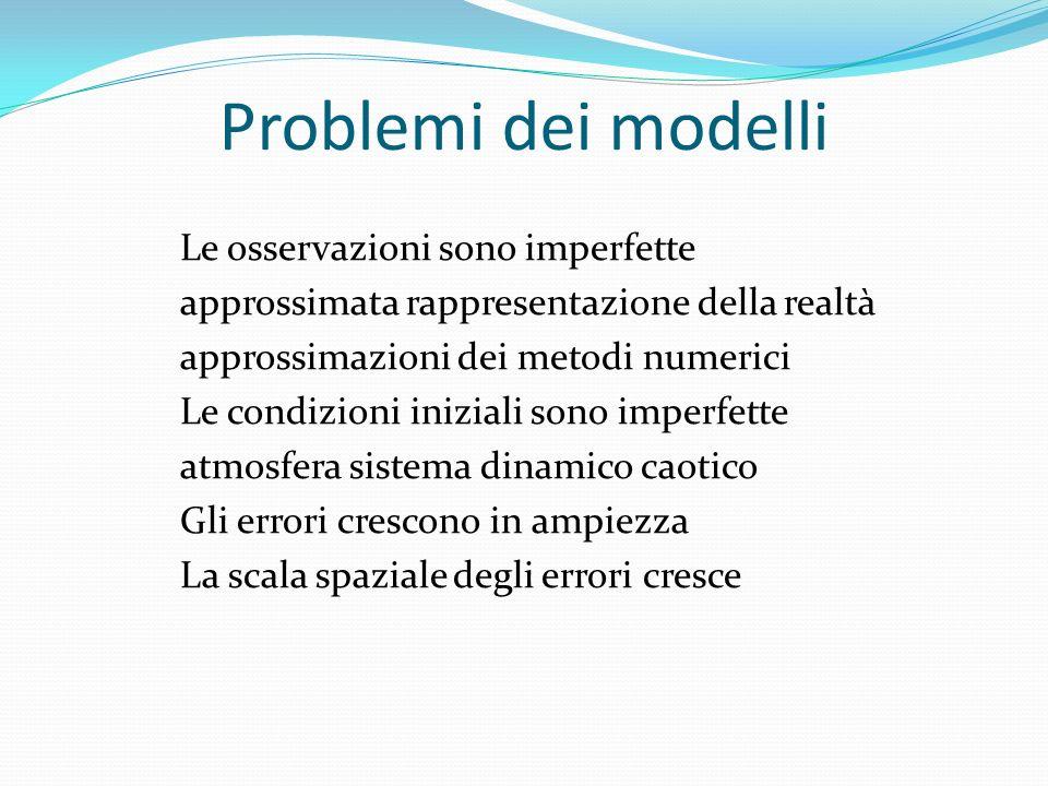 Problemi dei modelli Le osservazioni sono imperfette approssimata rappresentazione della realtà approssimazioni dei metodi numerici Le condizioni iniziali sono imperfette atmosfera sistema dinamico caotico Gli errori crescono in ampiezza La scala spaziale degli errori cresce