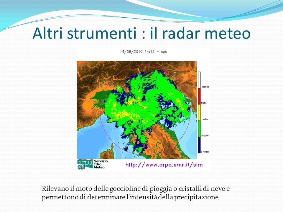 Altri strumenti : il radar meteo Rilevano il moto delle goccioline di pioggia o cristalli di neve e permettono di determinare l intensità della precipitazione