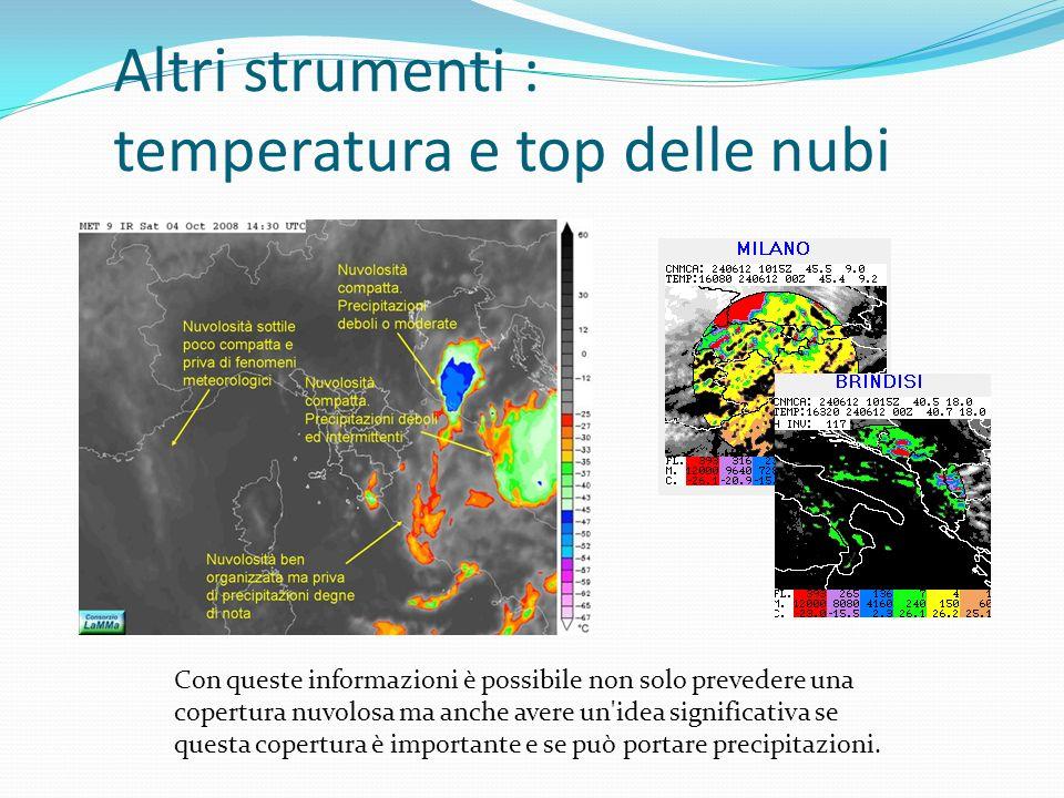 Altri strumenti : temperatura e top delle nubi Con queste informazioni è possibile non solo prevedere una copertura nuvolosa ma anche avere un idea significativa se questa copertura è importante e se può portare precipitazioni.