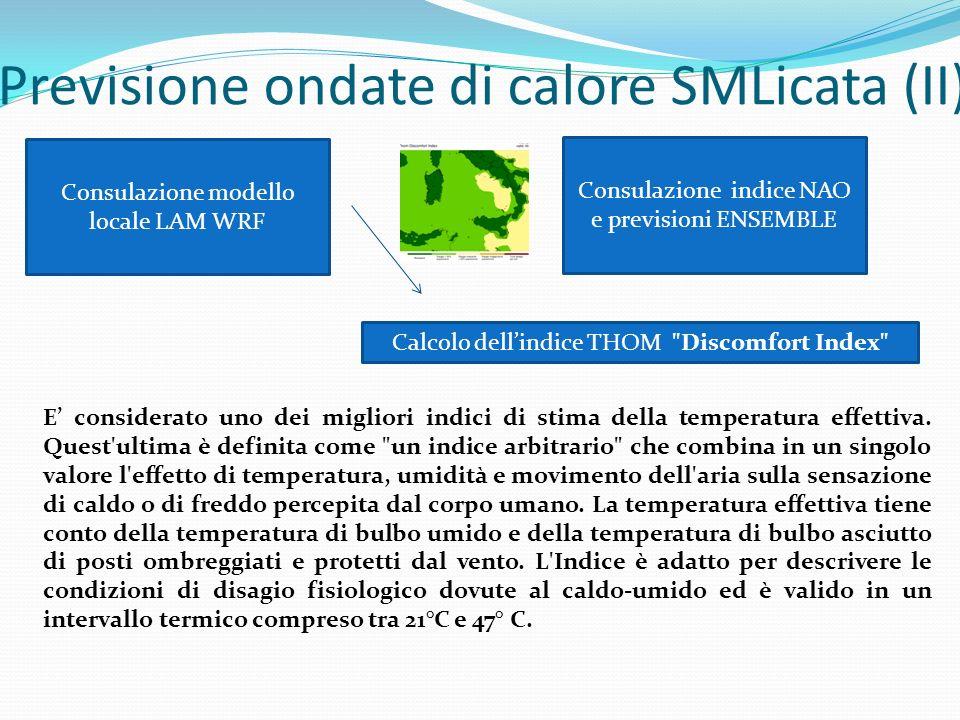 Previsione ondate di calore SMLicata (II) Consulazione modello locale LAM WRF Calcolo dellindice THOM Discomfort Index E considerato uno dei migliori indici di stima della temperatura effettiva.