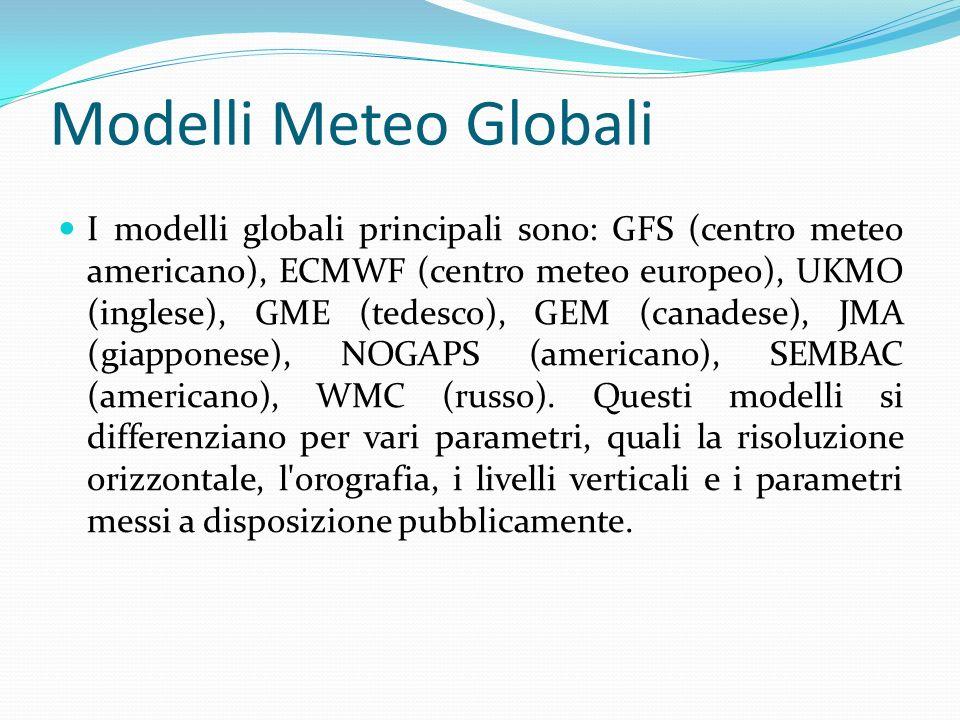 Modelli Meteo Globali I modelli globali principali sono: GFS (centro meteo americano), ECMWF (centro meteo europeo), UKMO (inglese), GME (tedesco), GEM (canadese), JMA (giapponese), NOGAPS (americano), SEMBAC (americano), WMC (russo).